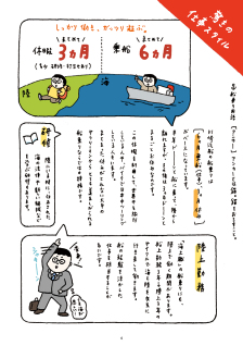 """聞いてビックリ船乗りの仕事サイクル / Workstyle of """"K"""" line seamen."""