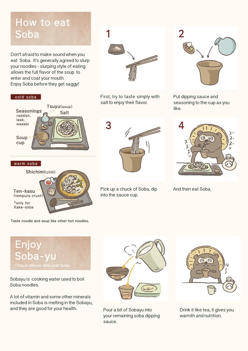 [ flyer ] 蕎麦処・喜多原 説明シート How to eat Soba