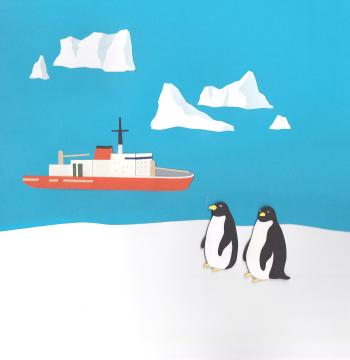 """切り絵で描いた、南極観測船「しらせ」Papercut illustration ; Antarctic Explorer """" Shirase """""""